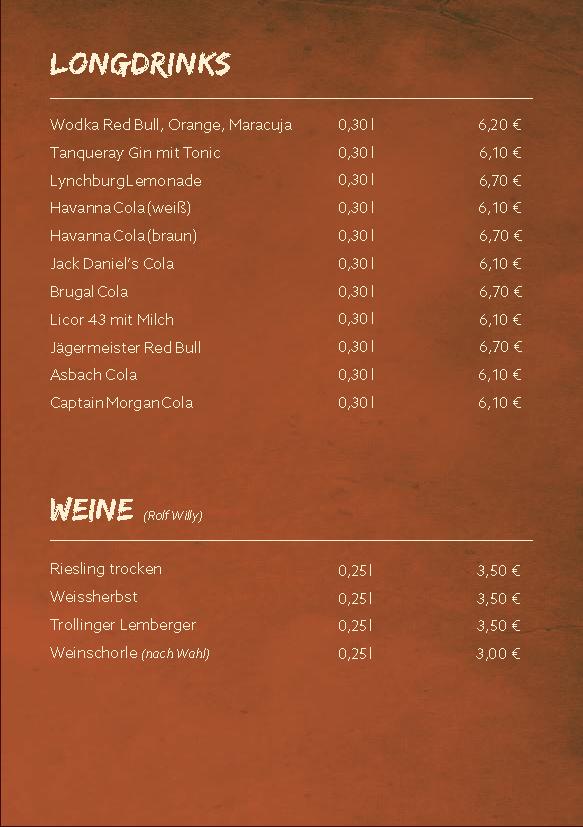 Speisen & Getränke | Kangaroo-Bar